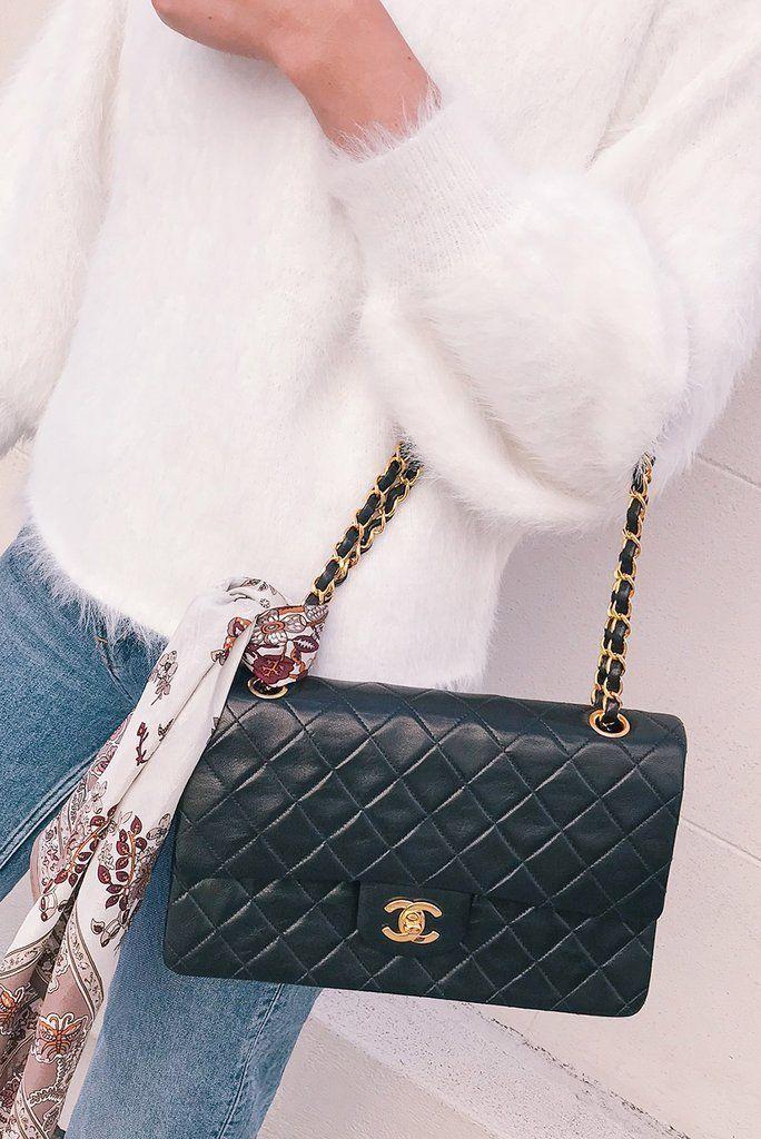 Vintage 1990s Chanel 2 55 Classic Flap Bag In Black Lambskin From Sweet Spark Vintageguccihandbags1990 Chan Chanel Handbags Chanel Bag Chanel Classic Flap