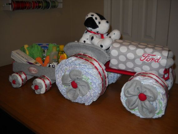 Ford Tractor and Wagon Diaper Cake on Etsy, $75.00  How adorable.  It should have a cow instead of a dog