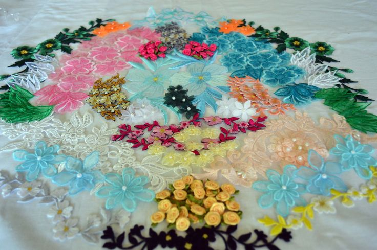Applique Pack. AP011, over 130 assortment of ribbon, embroidered and organza flowers by TheQuiltedCheese on Etsy