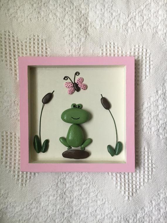 Frog pebble art, frog decor, framed pebble art, frog wall art, kid's room wall art, office wall decor, nursery wall art, baby shower gift