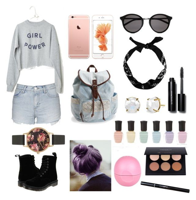 """Girl Power"" by dianegoescu on Polyvore featuring Topshop, Dr. Martens, Aéropostale, Yves Saint Laurent, Olivia Burton, Deborah Lippmann, River Island, Bobbi Brown Cosmetics, women's clothing and women"