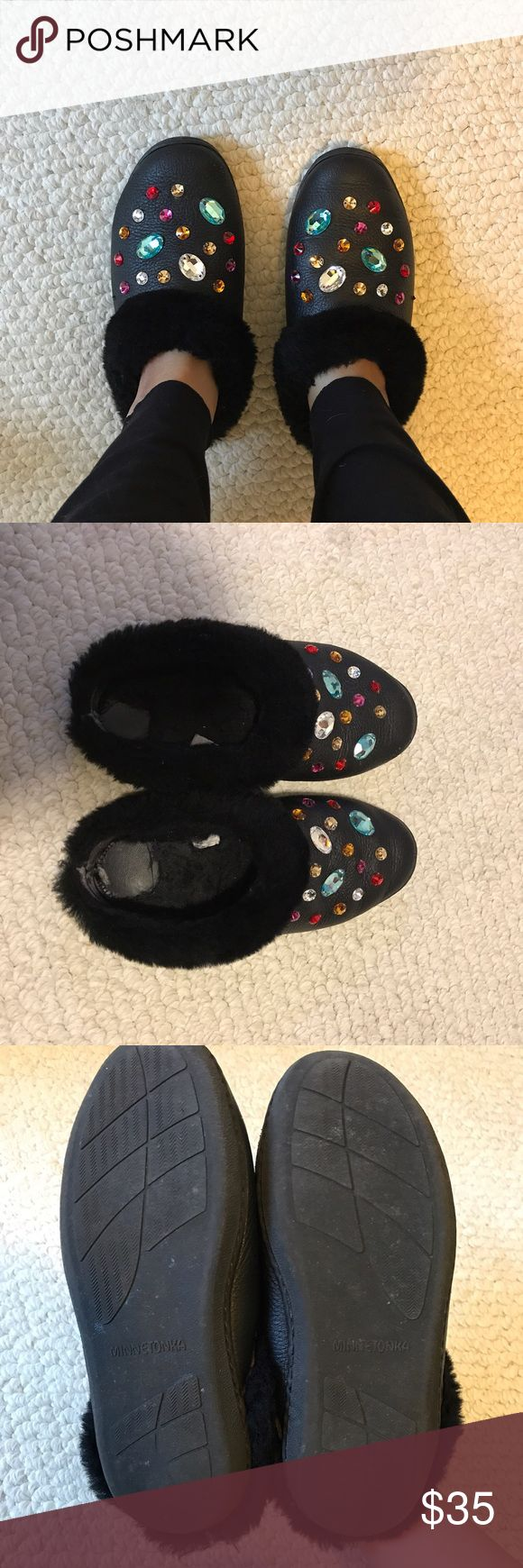 Opening Ceremony x Minnetonka crystal mules Opening Ceremony x Minnetonka sheepskin slippers / mules with Swarovski crystals. It says size 7 but I'm 7.5-8 and fits perfect. Lost some fur at insoles / light scuffing at exterior otherwise very comfy shoes. Opening Ceremony Shoes Mules & Clogs