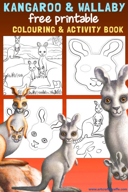 Kangaroo & Wallaby Colouring Book Printable- Colour in, join the dots and make a Kangaroo mask- Download it FREE at www.artcraftgiraffe.com! The characters are from the Hello Meerkat! Interactive Picturebook App for 1-5 year olds- https://itunes.apple.com/au/artist/tiny-twiga-studios/id587365518?mt=8