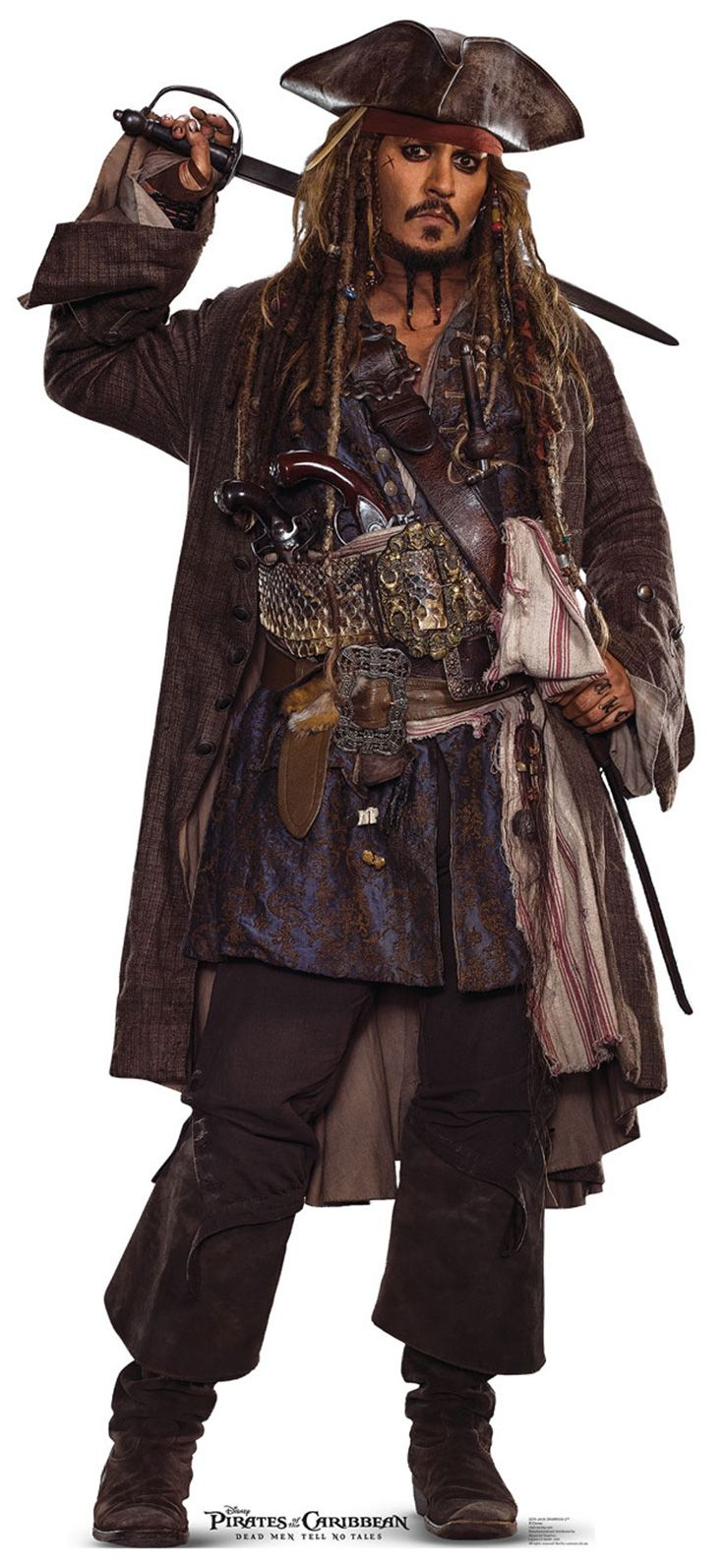 "CAPTAIN JACK SPARROW Cardboard Cutout Standup / Standee from ""Pirates of the Caribbean: Dead Men Tell No Tales (2017)"" 
