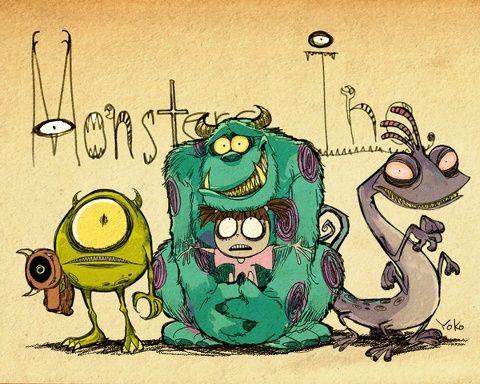 Tim Burton-esque Monster's Inc