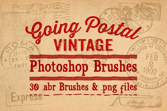 Going Postal Vintage PS Brushes by Clikchic Designs on @creativemarket
