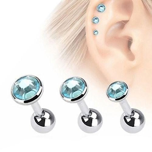 3 Pcs Rhinestone Ear Studs Fashion Tragus Helix Bar Cartilage Piercing Earrings