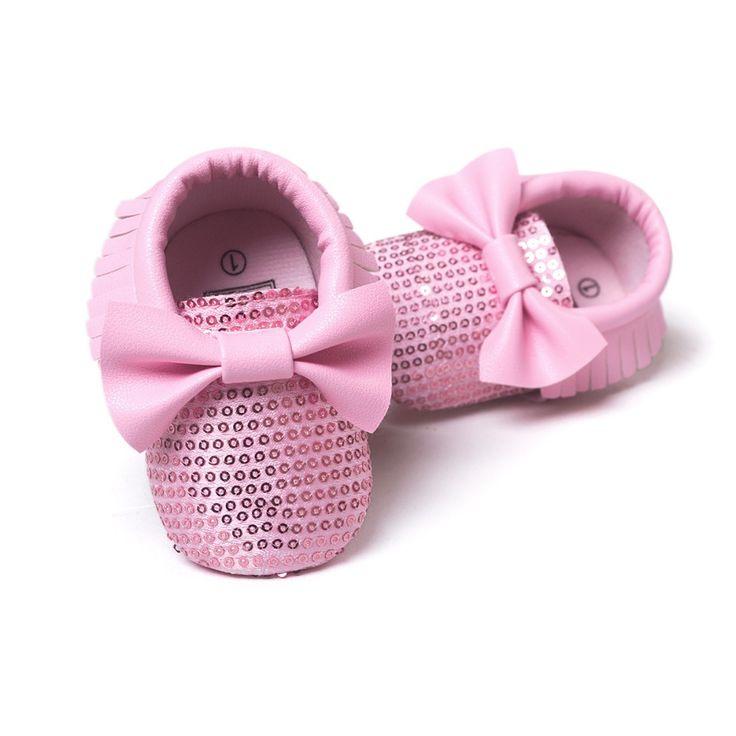 Mode Zoete Baby Peuter Pasgeboren Meisje Prinses Bling Bling Grote Boog Babyschoenen Baby Mocassins Zachte Moccs Schoenen 0-1 T