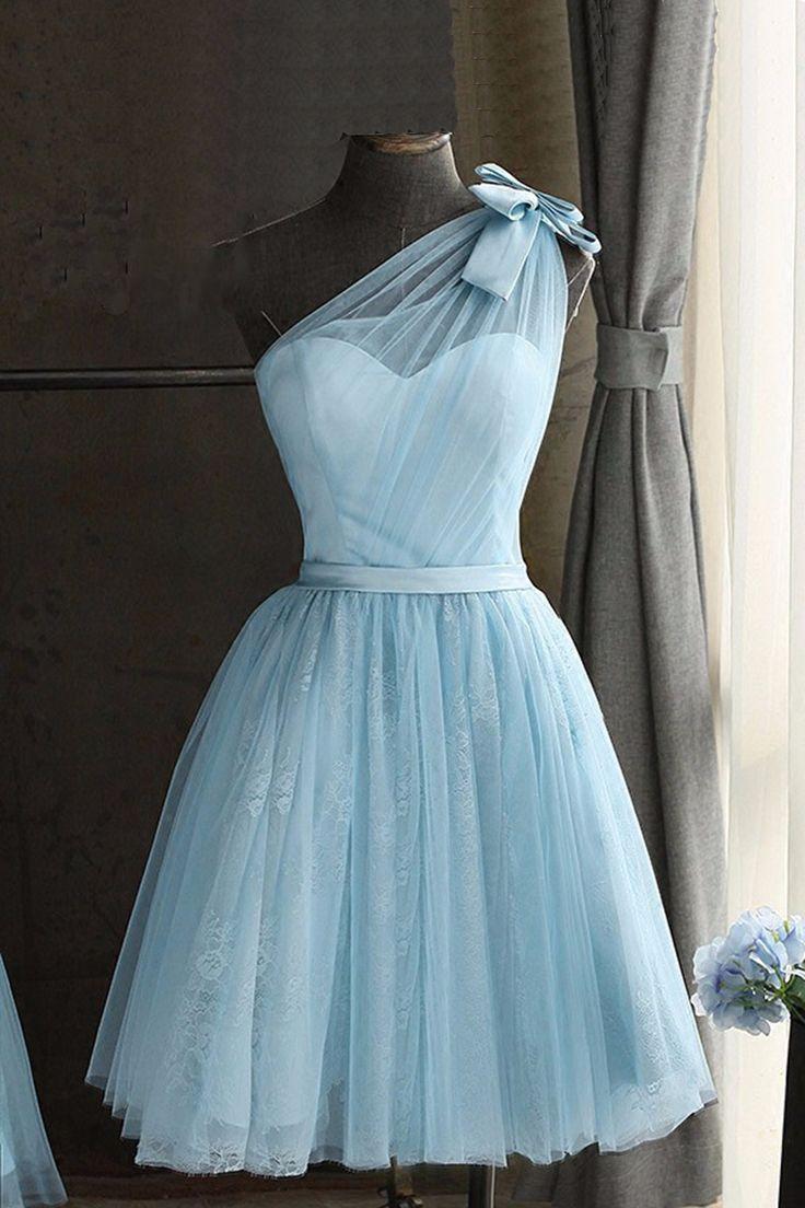 Süßes blaues Tüll Ballkleid, eine Schulter Ballkle in 20