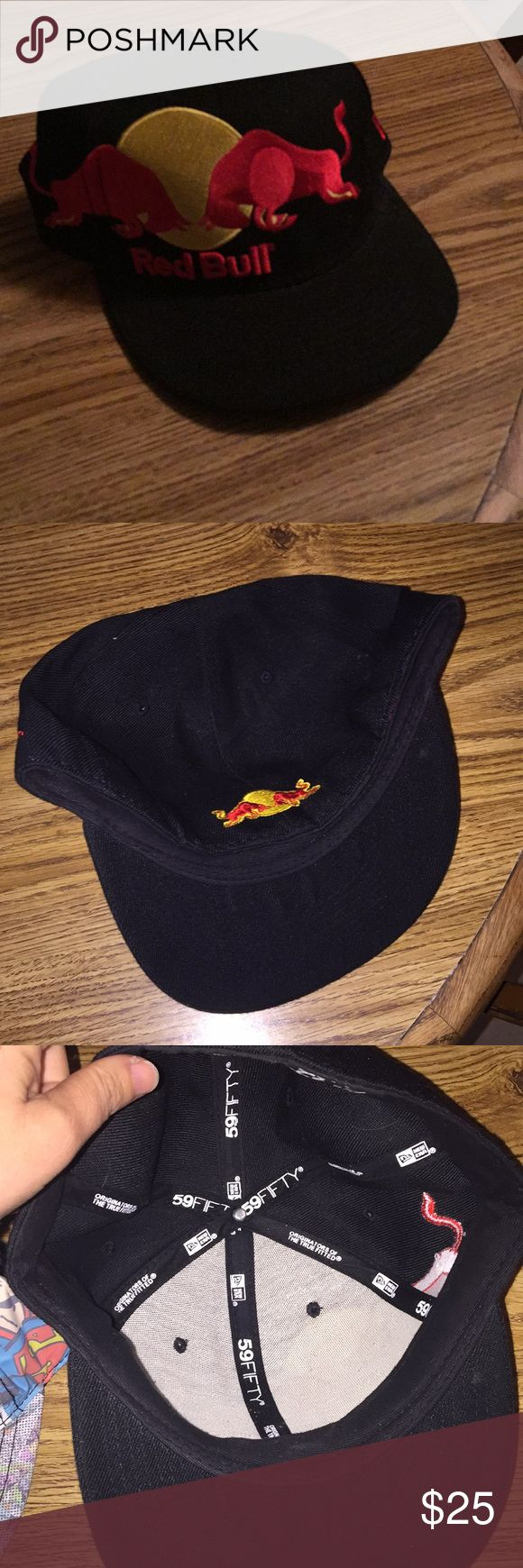 "Red Bull Fitted Hat Fitted hat - worn once after a race, Excellent-like new - red bull logo - size is 7 3/8"" or 58.7 cm - 79% acrylic, 30% wool New Era Accessories Hats"