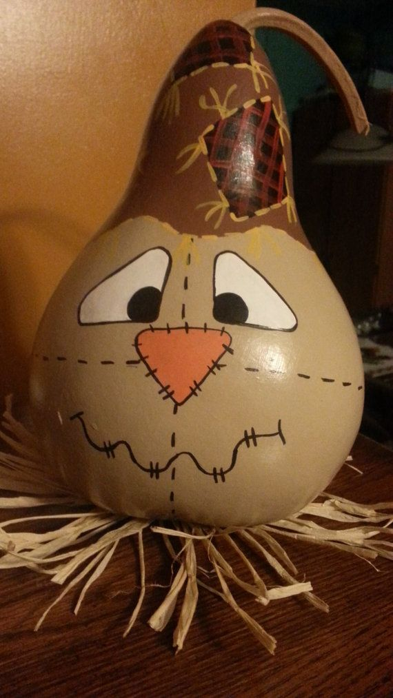 Handpainted Scarecrow Gourd by ToadilyUniqueCrafts on Etsy, $20.00