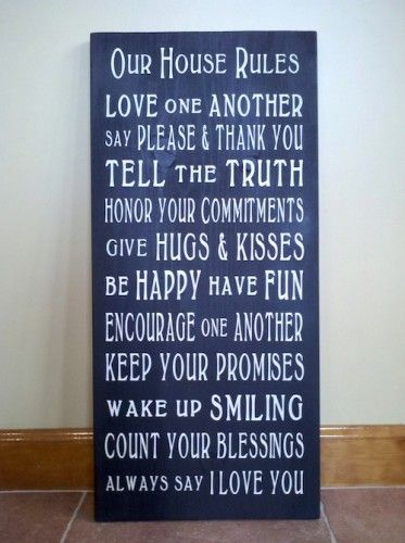 Our House Rules Word Art Typography Wood Sign