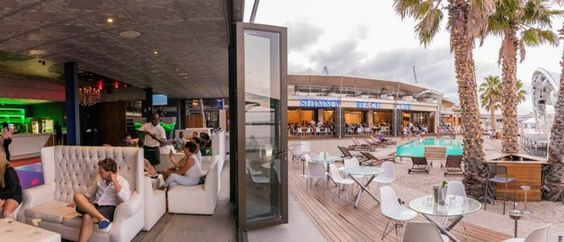 Shimmy Beach Club, Cape Town. V&A Waterfront venue.  Lounge leads out on to the private beach