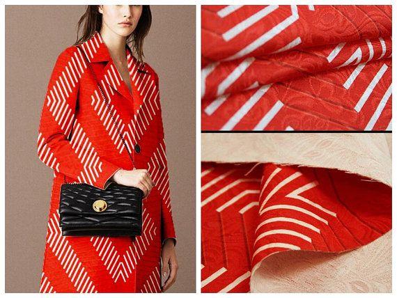 Rode lineaire ontwerp Jacquard stof jurk rok wind door FashionLace