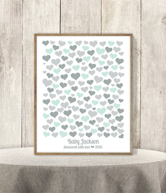 Heart Guest Book Alternative Poster / Baby Shower Sign In / Mint And Gray /  Baby Birthday ▷ Printable File {or} Printed U0026 Shipped