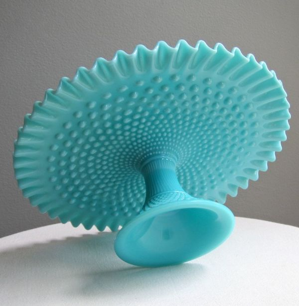 Gorgeous 1950s Turquoise Milk Glass Pedestal Plate