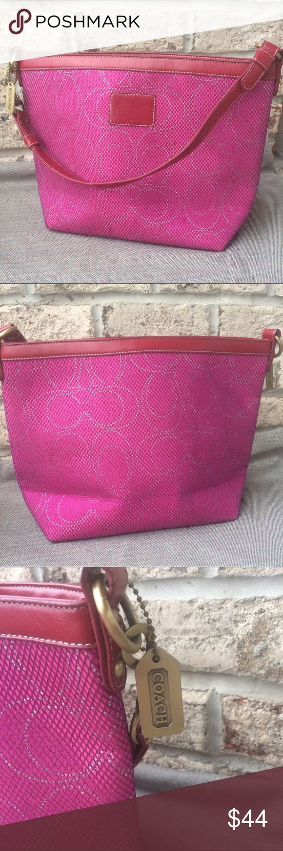 Pink Coach Handbag Bright pink shoulderbag with fine glitter detail Coach Bags Shoulder Bags