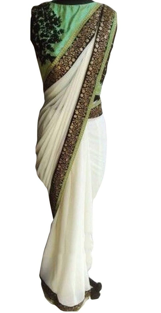 Shop Inspired style offwhite and pista color georgette party wear saree at kollybollyethnics with free shipping offer to USA, UK, Australia,Canada and many countries.