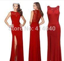 Mulheres mangas dividir andar de comprimento vestido de tamanho grande plissado O partido Maxi vestido vermelho(China (Mainland))