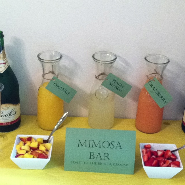 wedding morning mimosa bar.