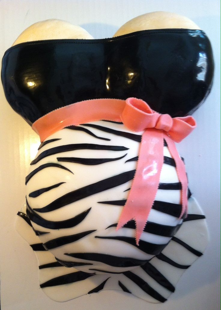 Baby shower cake- zebra print with pink bow