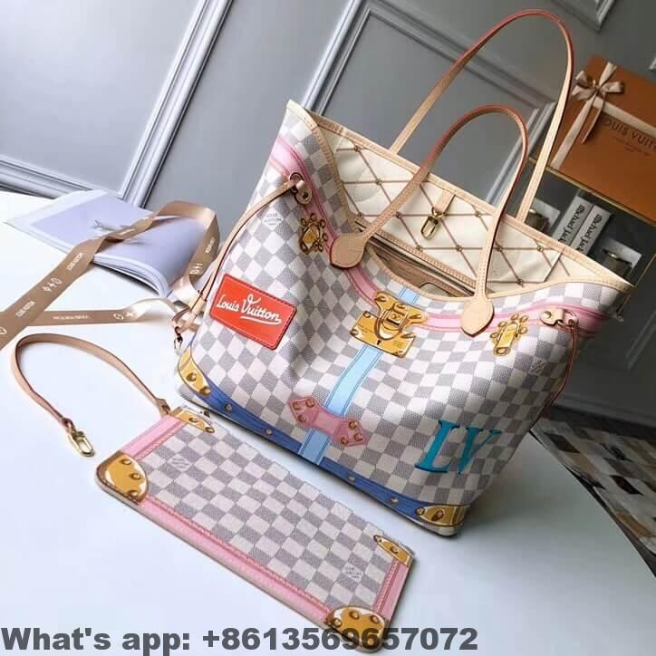 164ad129e750 Louis Vuitton Summer Trunks Damier Azur Canvas Neverfull MM Bag N41065 20018