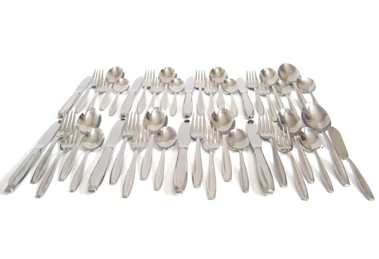 """New to LaurasLastDitch on Etsy: Midcentury Flatware Set Stainless Silverware Set Complete Service for 8 International Stainless """"New Dawn"""" (144.99 USD)"""