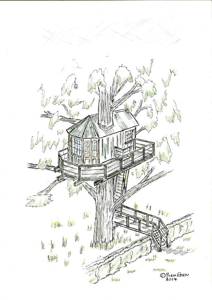 Tree House Sketch Design to Irish Garden