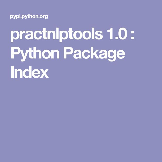 practnlptools 1.0 : Python Package Index