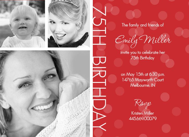 18 best invitations images on pinterest | 75th birthday, Birthday invitations