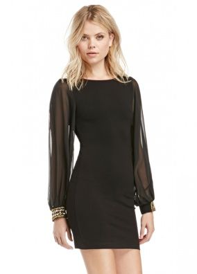 Black Lace Bodycon Metallic Sleeve Dress