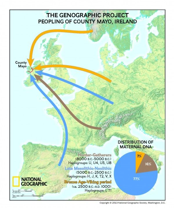 Maternal (mitochondrial) DNA distribution and likely migration routes.