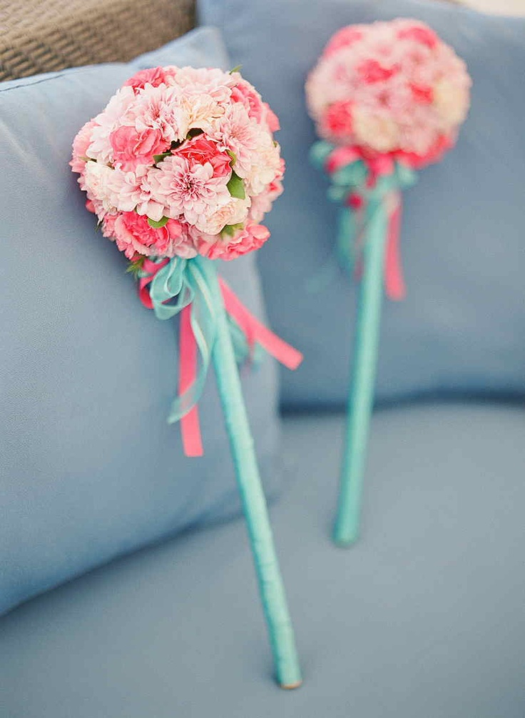 Floral wands for the flowergirls  in black white and red. :)