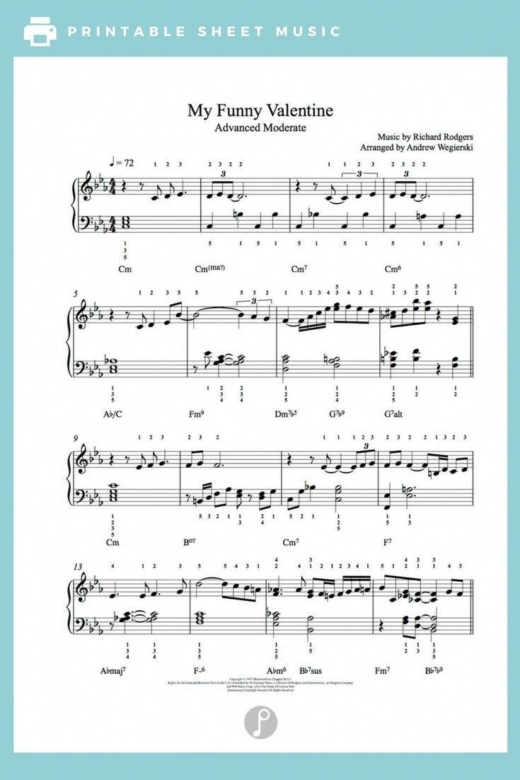 My Funny Valentine By Rodgers Hart Piano Sheet Music Advanced Level Violinfunny Sheet Music My Funny Valentine Piano Sheet Music