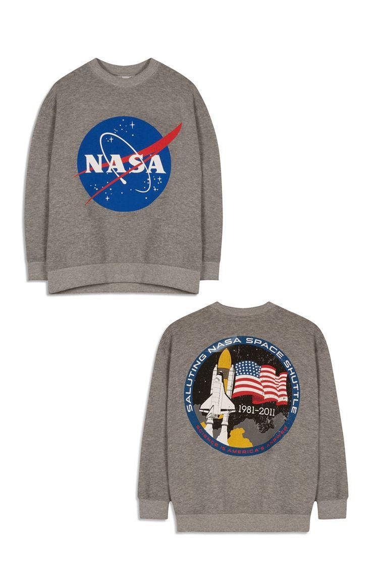 """Grauer """"NASA Logo"""" Pullover"""