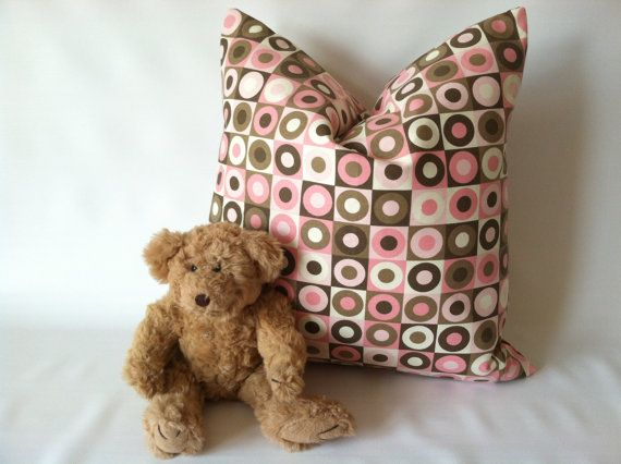 Sweet and ready to ship! Pink Taupe Pillow Cover  One 20 x 20 Pink Taupe Brown by mizzeztee, $19.00