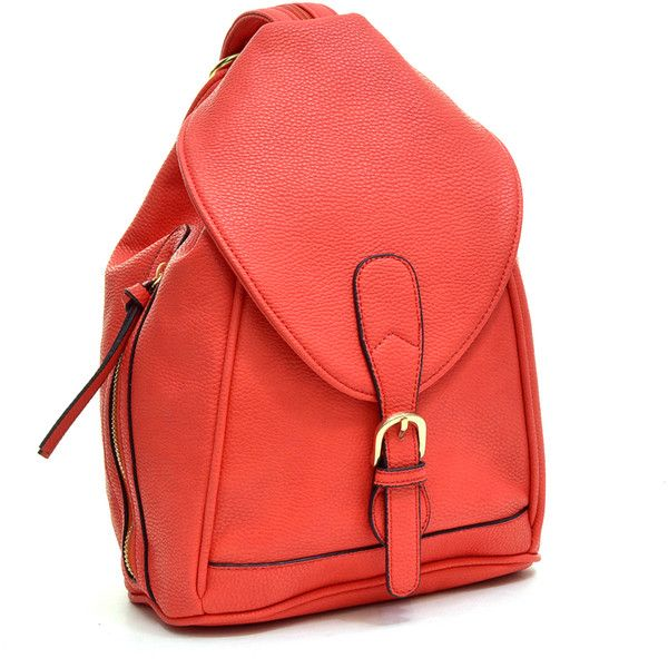 Dasein Classic Convertible Backpack-Paisley Interior featuring polyvore fashion bags backpacks red leather knapsack leather convertible backpack single shoulder backpack pocket bag leather one shoulder backpack