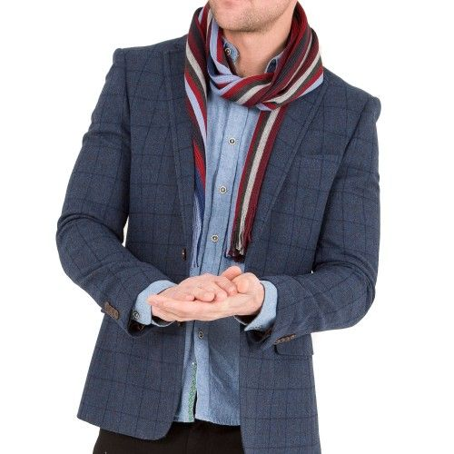 HARRY BROWN Tailored Fit Blue Wool Mix Checked Blazer // Slater Menswear