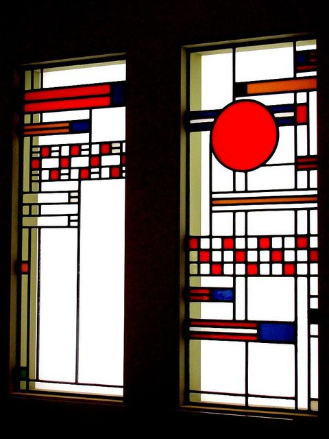 Stained glass window  Two windows designed by Frank Lloyd Wright (1867-1959) in 1912 for the Avery Coonley Playhouse in Riverside, Illinois. The Linden Glass Company of Chicago (1890-1934) made these stained and leaden glass windows, featuring circles and square and rectangular patterns.