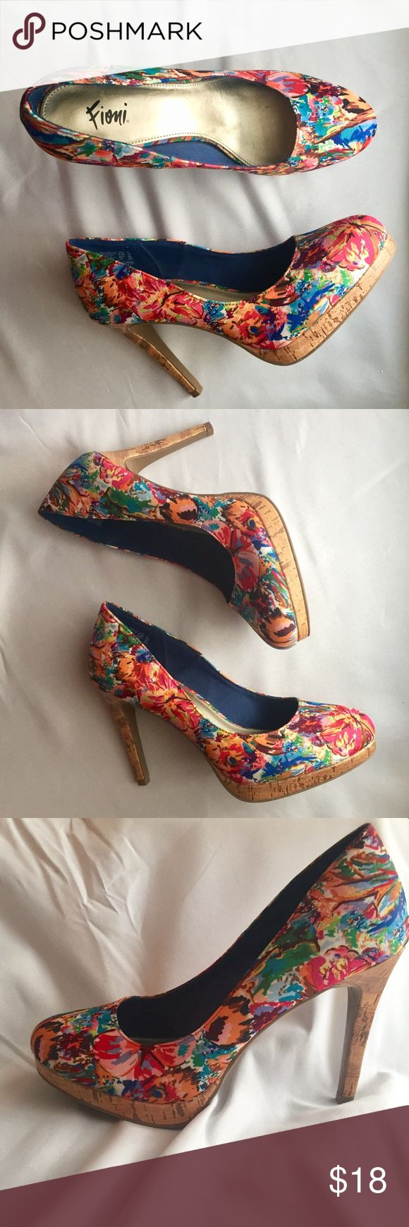 """Fioni Multicolor Pumps Floral Rainbow Heels You'll be quite the fashionista in this stylish pump from Fioni! It features a round toe, jersey lining, padded footbed, 4"""" heel with a 1/2"""" platform, and sturdy outsole.  Like new, only worn once!! FIONI Clothing Shoes Heels"""