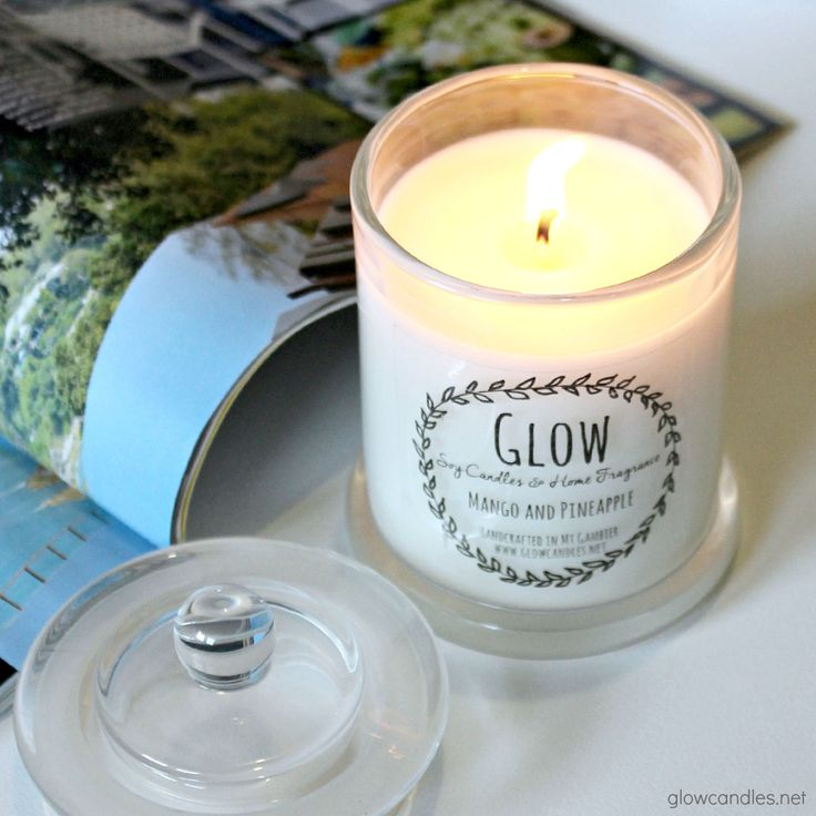 Mango & Pineapple scented soy candle from www.glowcandles.net  Handcrafted in South Australia