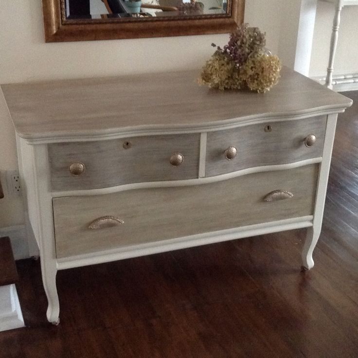 Real vintage solid wood dresser/buffet/entry table with modern touch, chalk painted old white, drawers and top finish is two tone  weathered wood look .