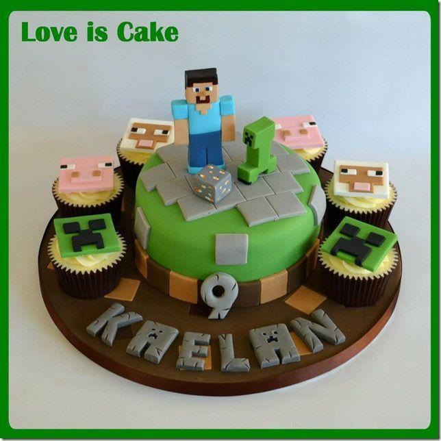Le gâteau d'anniversaire d'un petit garçon fan de Minecraft #gateau #minecraft