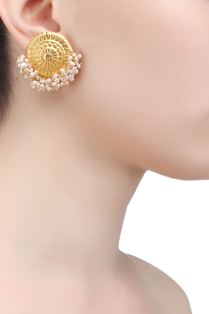 Gold plated pearl hanging temple stud earrings available only at Pernia's Pop Up Shop.