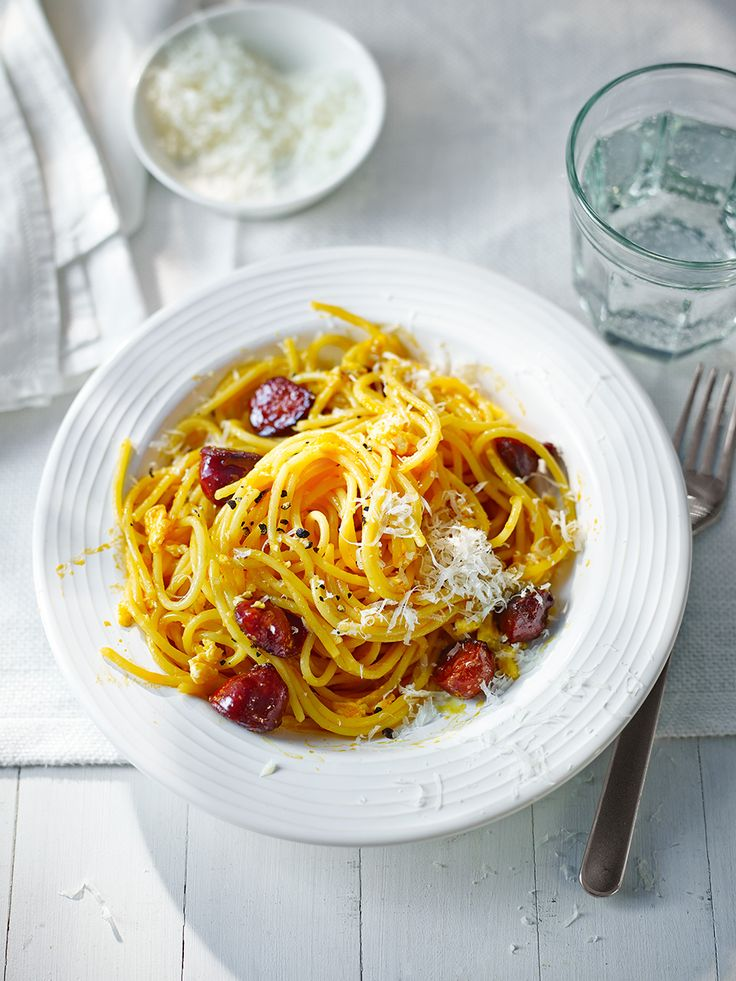 This quick version of a classic Italian carbonara replaces ham with smoky chorizo.