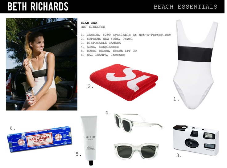 Here is our Art Director, Sian Chu's list of beach essentials.     The featured Censor suit is available at Net-a-porter.com http://www.net-a-porter.com/product/196522