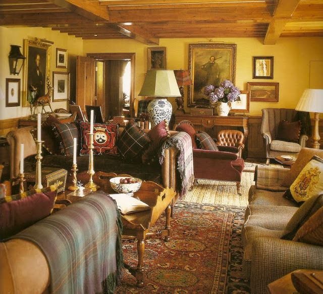 Scottish Country House Sitting Room I Love All The Tartan So