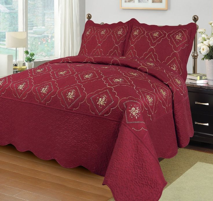 3pcs Embroidery Polyester Solid Quilt Twin Full Queen King Size Bed Cover Ensemble Coverlet Set Bedspread