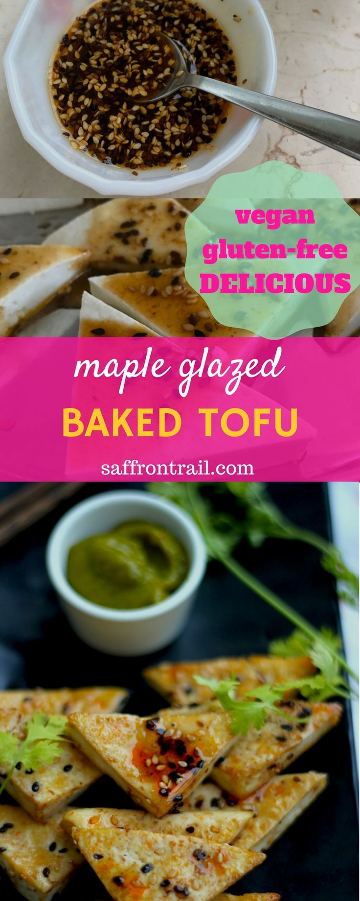 Baked Tofu with Maple Glaze makes a delicious appetiser when paired with the freshly prepared Mango Maple Basil dipping sauce with tons of fresh flavours. There are other uses for both the baked tofu and the dipping sauce - Click on the pin / Save the pin to read!