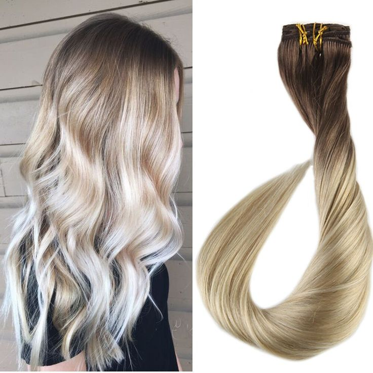 Blonde Balayage Extensions of Remy Human Hair Clip in Extensions Human Real Hair #FullShine #BalayageHairExtensions